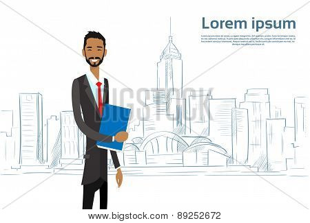 Businessman Cartoon over Sketch City Skyscraper Vector