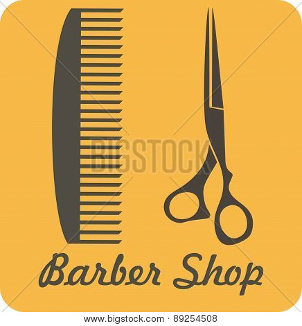 Comb And Scissors Icon Vector