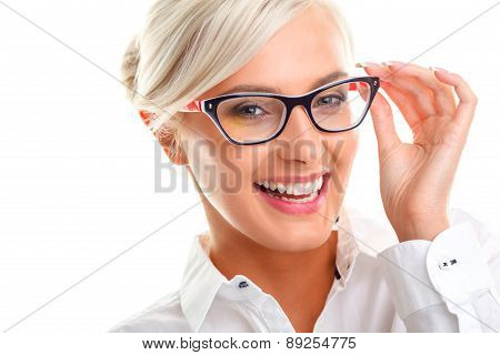 beautiful woman in black eyeglasses