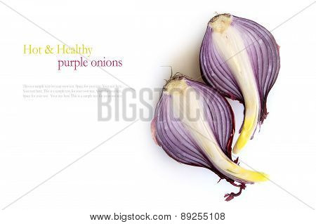 Red Onions In Halves Isolated On White Background With Sample Text