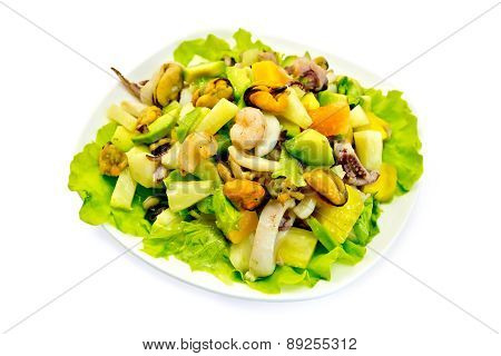 Salad seafood and avocado with lettuce