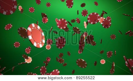 Red Casino Chips Green Background
