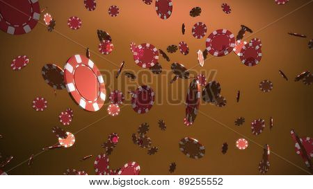 Red Casino Chips Brown Background