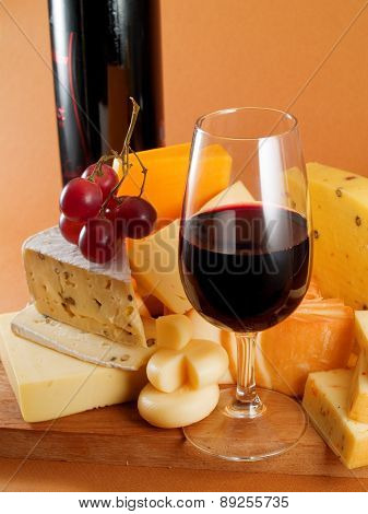 Cheese And Red Wine Still Life