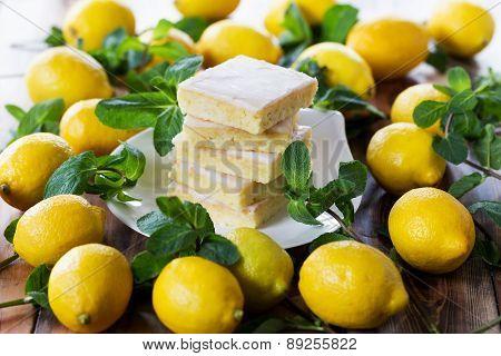 Authentic Shortcake Cake, A Lot Of Fresh Yellow Lemons And Mint. Morning Atmospheric Lighting, Fashi