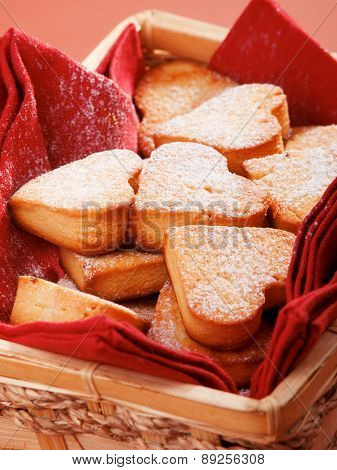 Heart Shaped Cookies In Basket