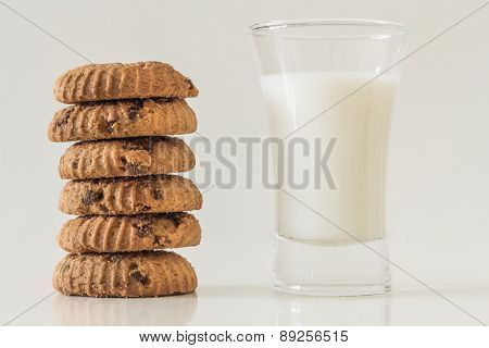 Home made chocolate chip cookies and milk