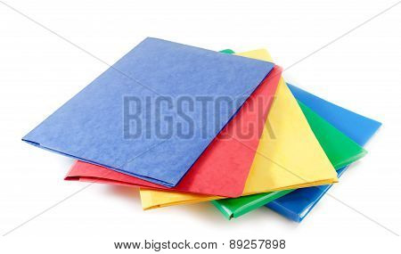 Stack Of Colorful File Folders  On White Background
