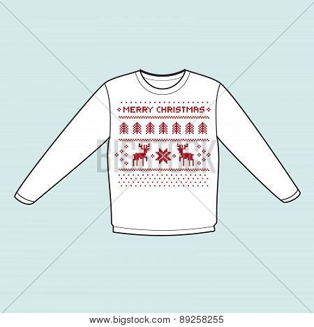 christmas winter warm sweater flat icon mockup with pixel deers