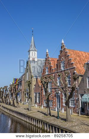 Church And Old Houses In The Center Of Sloten