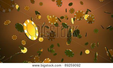 Golden Casino Chips Brown Background
