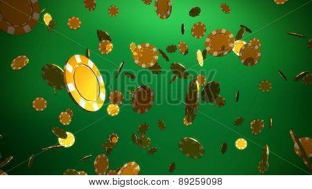 Golden Casino Chips Green Background