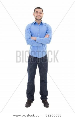 Young Arabic Business Man In Blue Shirt Isolated On White