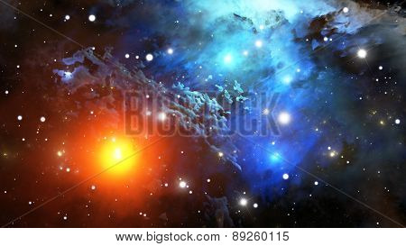 Colorful Nebula. Cloud Of Gas And Dust Blocks The Light Of Distant Stars.