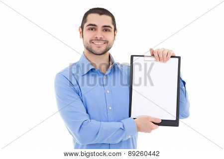 Young Handsome Bearded Arabic Man Showing Clipboard With Copy Space Isolated On White