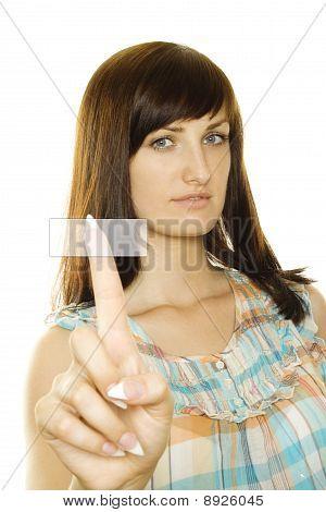 Girl pressing a button