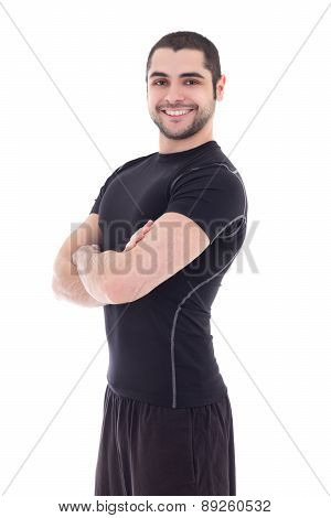 Handsome Bearded Arabic Man In Sportswear Isolated On White