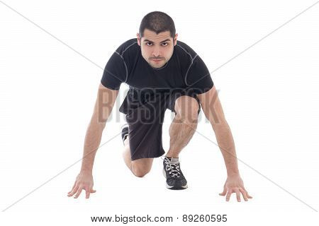 Handsome Bearded Arabic Man In Sportswear Ready To Run Isolated On White