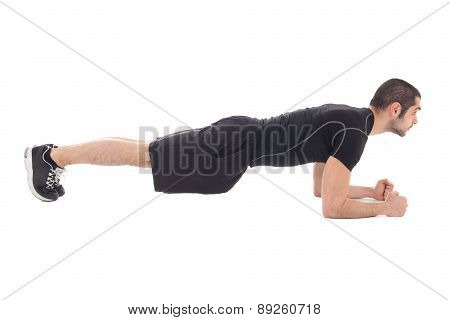 Handsome Man In Sportswear Doing Exercises For Abdominal Muscles Isolated On White