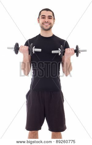 Young Handsome Arabic Man In Sportswear Doing Exercises With Dumbbells Isolated On White