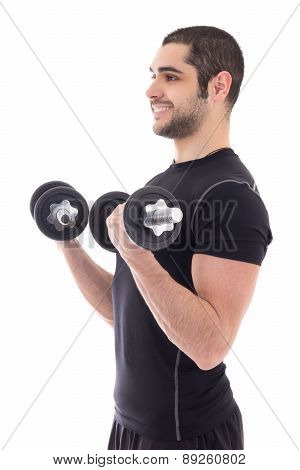 Young Man In Sportswear Doing Exercises With Dumbbells Isolated On White
