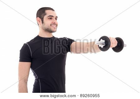 Young Strong Man In Black Sportswear Doing Exercises With Dumbbell Isolated On White