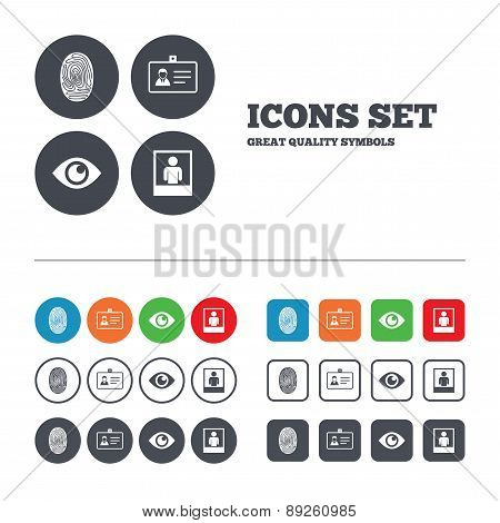 Identity ID card badge icons. Eye symbol.