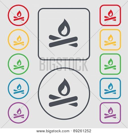 Fire Flame Icon Sign. Symbol On The Round And Square Buttons With Frame. Vector