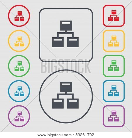 Local Network Icon Sign. Symbol On The Round And Square Buttons With Frame. Vector