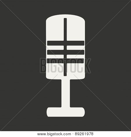Flat in black and white mobile application microphone