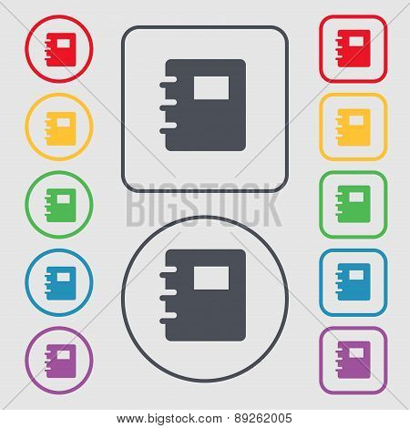 Book Icon Sign. Symbol On The Round And Square Buttons With Frame. Vector