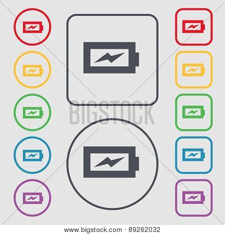 Battery Charging Icon Sign. Symbol On The Round And Square Buttons With Frame. Vector