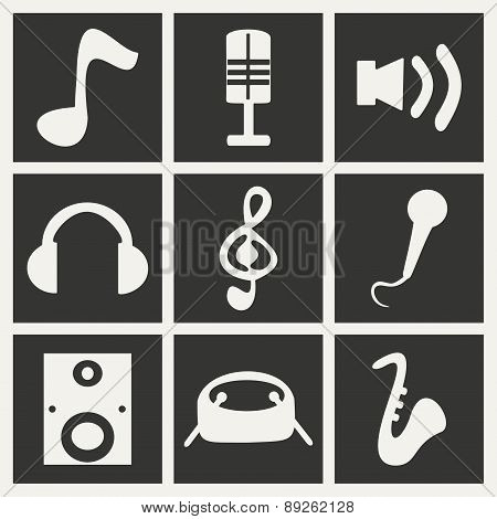 Flat in black and white concept mobile application music
