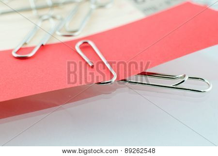 Paper Clip And Red Paper