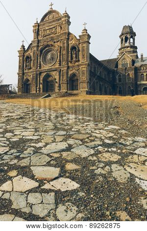 old Abandoned Church with destroyed, nanjing china.