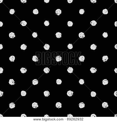 Vector seamless chalk polka dot pattern. Classic texture vintage 1960s fashion style in  white and b