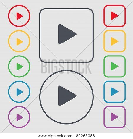 Play Icon Sign. Symbol On The Round And Square Buttons With Frame. Vector