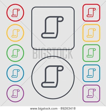 Paper Scroll Icon Sign. Symbol On The Round And Square Buttons With Frame. Vector