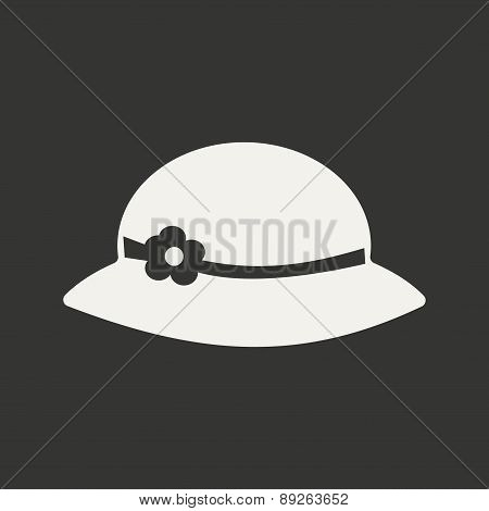 Flat in black and white mobile application hat woman