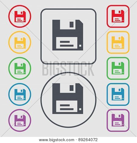 Floppy Icon Sign. Symbol On The Round And Square Buttons With Frame. Vector