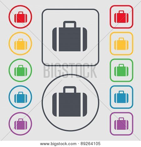 Suitcase Icon Sign. Symbol On The Round And Square Buttons With Frame. Vector