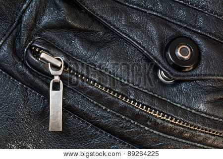 Zipper And Press Stud In Old Black Leather