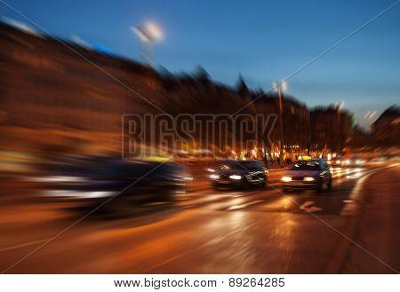 City traffic in Vienna night