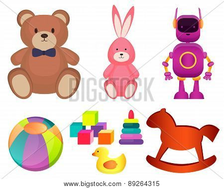Set of  toys on a white background. Vector illustration