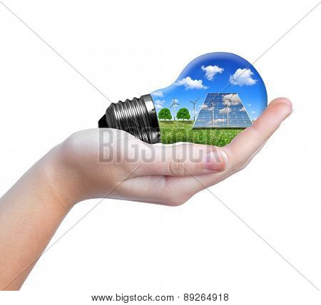 Hand holding eco light bulb  isolated on white background