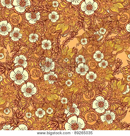 Seamless pattern with doodle flowers in orange