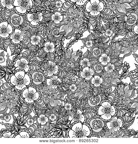 Seamless pattern with doodle spring flowers in grey
