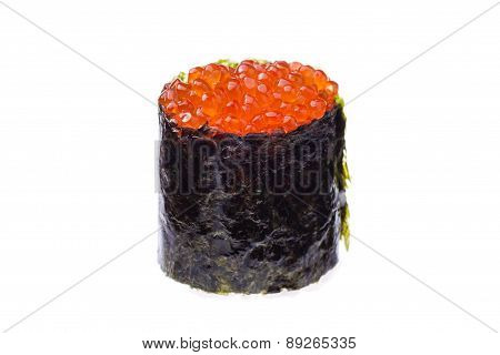 Red caviar sushi