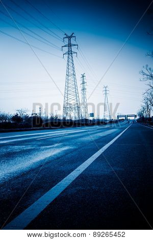 empty highway, blue toned images.