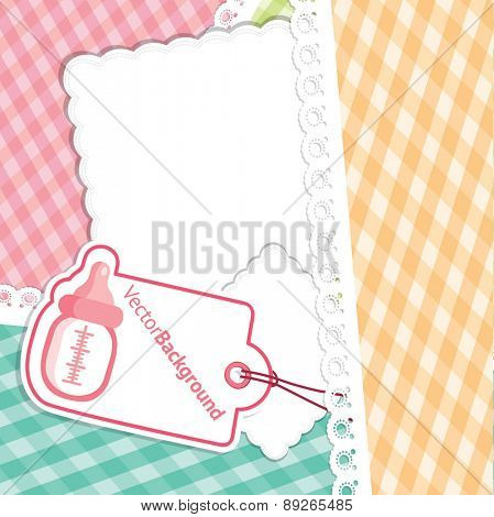 Baby Shower greeting Card for Girl with Baby Bottle. Vector Background Illustration.